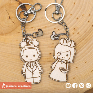 Cute Bride & Groom with Mickey and Minnie Ears Disney Keychain - Wooden Cutout
