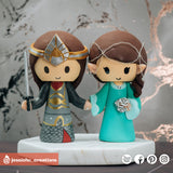 Aragorn & Arwen | Lord of the Rings LOTR | Custom Handmade Wedding Cake Topper Figurines | Jessichu Creations