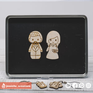Cute Individual Couple Wooden Cutout Magnet