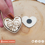 Cute Couple Wooden Cutout Heart Magnet | Wooden Cutouts | Wooden Gallery | Jessichu Creations