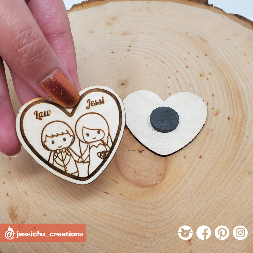 Custom Drawn Wooden Couple's Magnet | Wooden Cutouts | Wooden | Jessichu Creations