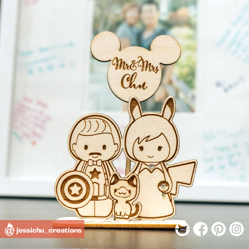 Captain America Groom & Pikachu Bride Inspired Wooden Cutout Wedding Cake Topper | Wooden Cutouts | Cake Topper Gallery | Jessichu Creations