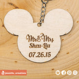 Cute Bride & Groom on Mickey and Minnie Ears Keychain - Wooden Cutout | Wooden Cutouts | Wooden Gallery | Jessichu Creations