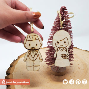 Custom Drawn Wooden Couple's Individual Ornament - Wedding Cake Topper Replica