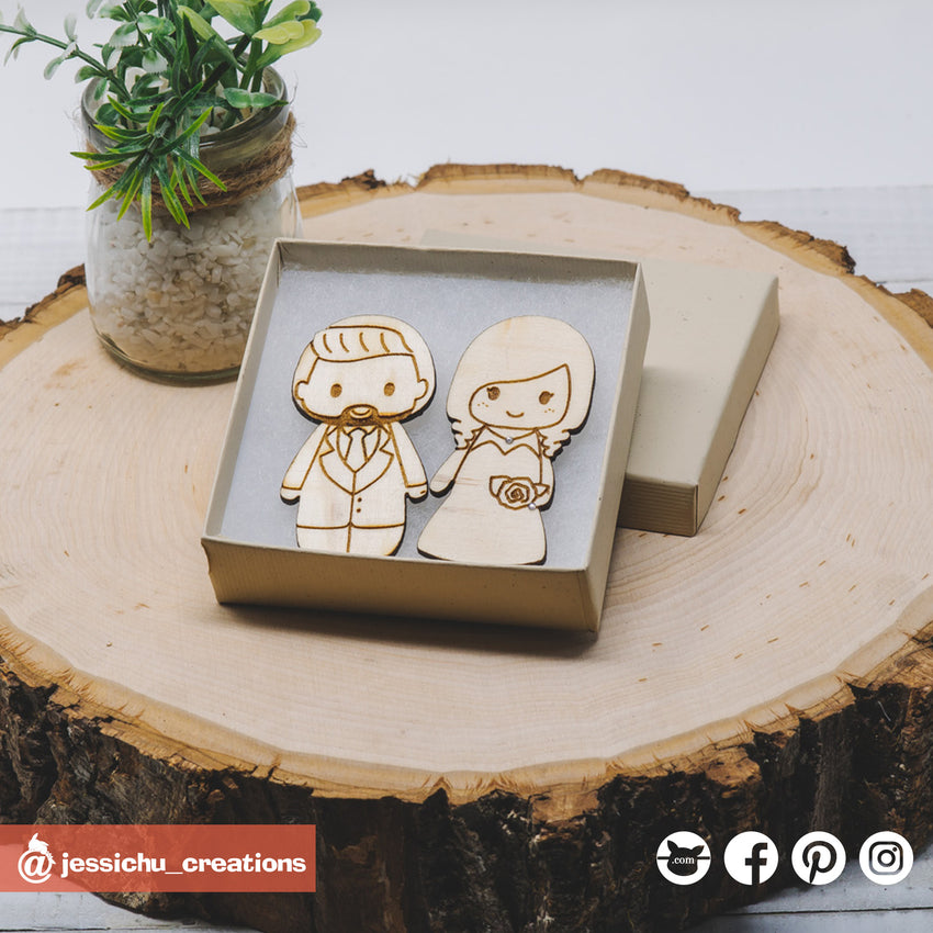 Cute Individual Couple Wooden Cutout Magnet | Wooden Cutouts | Wooden Gallery | Jessichu Creations