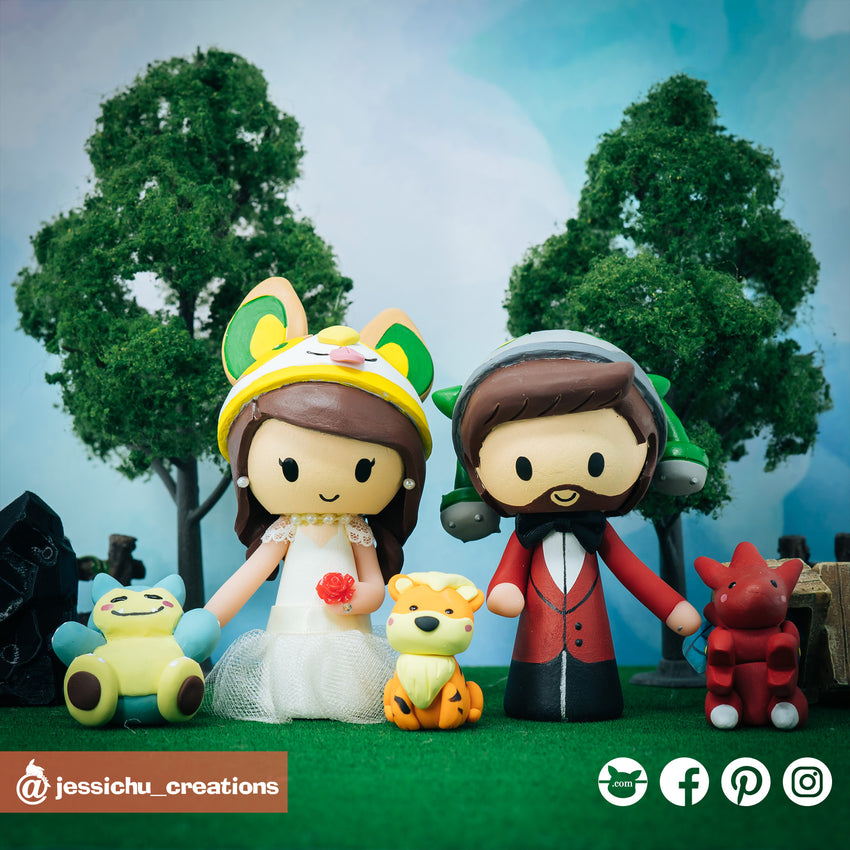Ferrothorn & Yamper with Scizor & Growlith | Pokemon | Custom Handmade Wedding Cake Topper Figurines | Jessichu Creations