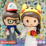 Ash Ketchum & Pikachu | Nintendo Pokemon  | Custom Handmade Wedding Cake Topper Figurines | Jessichu Creations