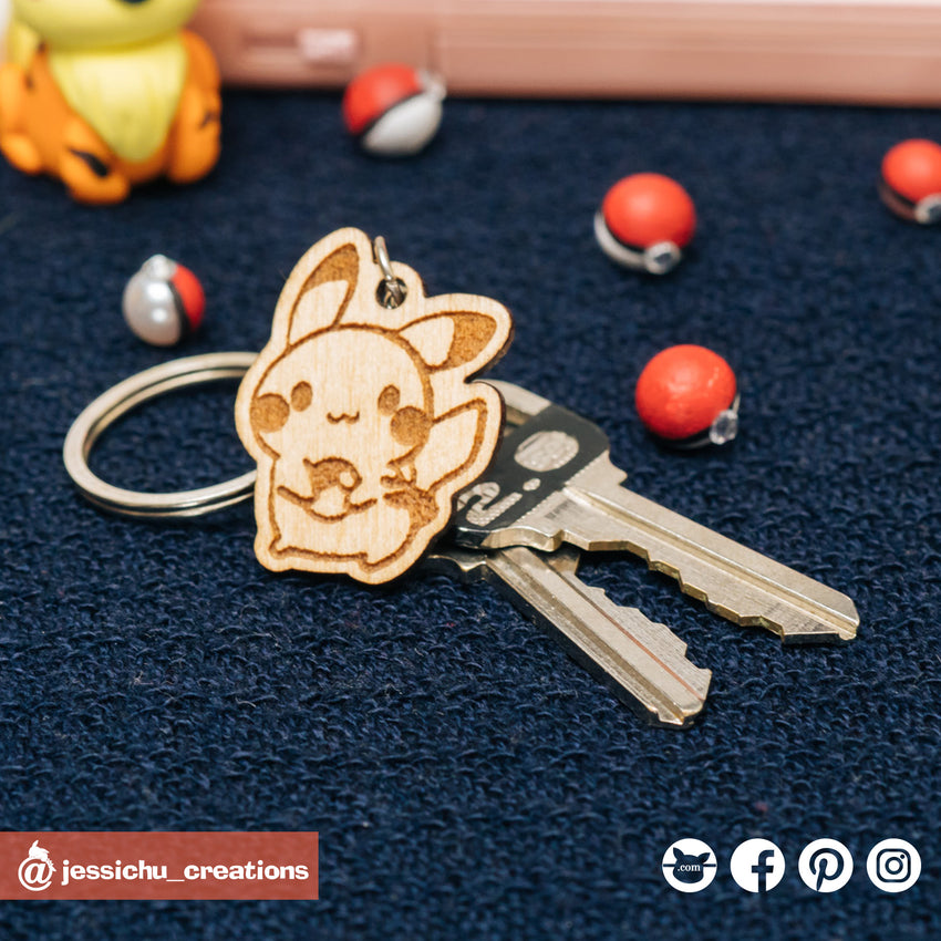 Wooden Pokemon Pikachu Keychain or Phone Strap | Pokemon Proposals | Pokemon | Jessichu Creations