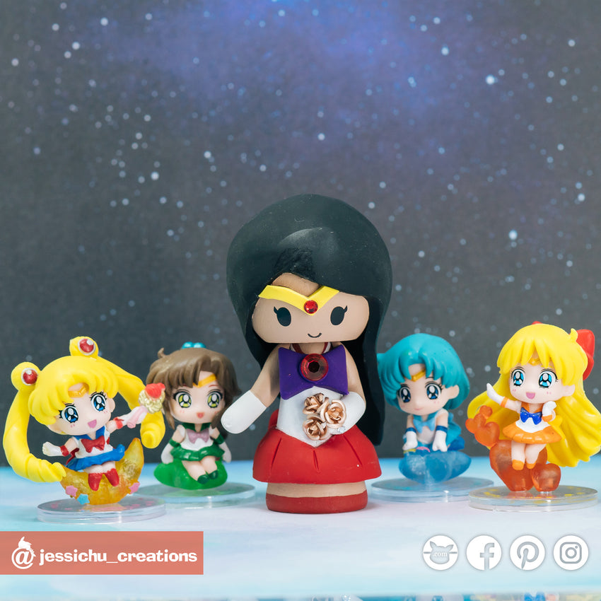 Sailor Mars | Sailor Moon | Custom Handmade Wedding Cake Topper Figurines | Jessichu Creations
