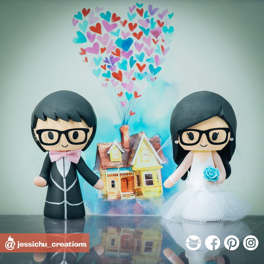 Cute Bride & Groom | Custom Handmade Wedding Cake Topper Figurines | Jessichu Creations