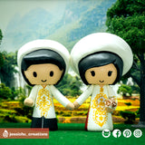 Traditional Vietnese Ao Dai | Custom Handmade Wedding Cake Topper | Jessichu Creations