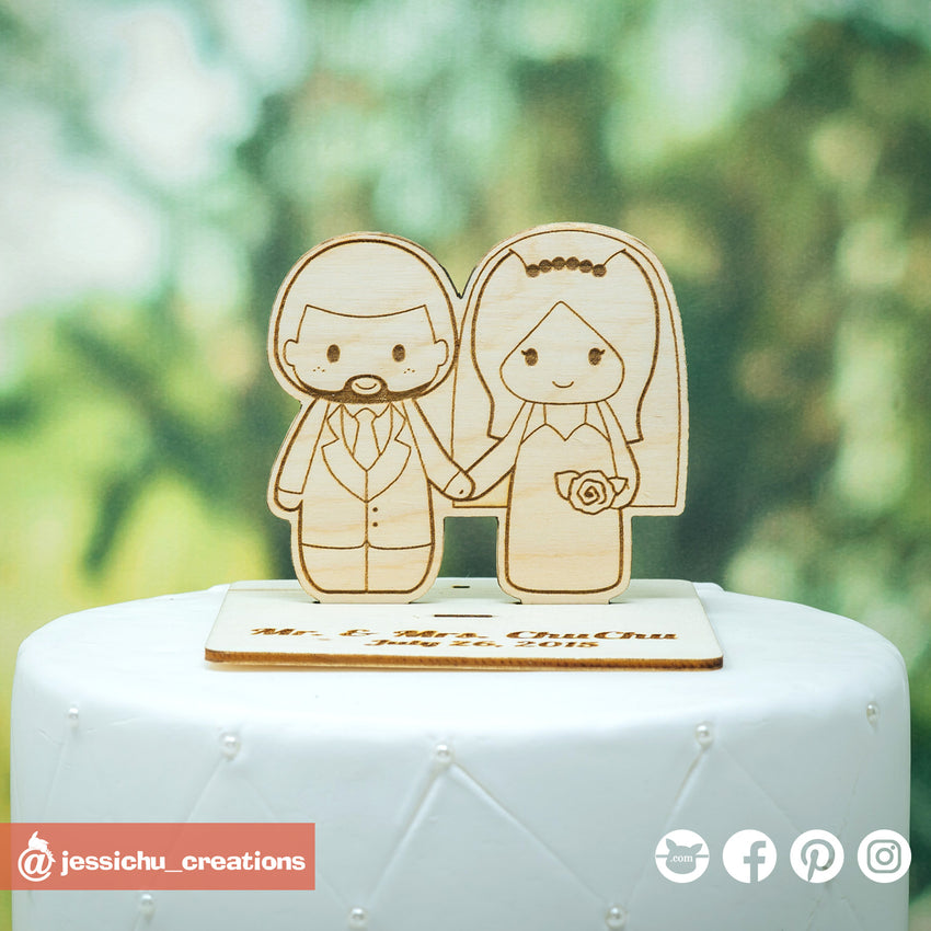 Cute Couple - Wooden Cutout Wedding Cake Topper | Wooden Cutouts | Cake Topper Gallery | Jessichu Creations