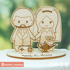 Cute Couple - Wooden Cutout Wedding Cake Topper