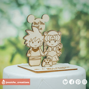 Goku & Princess Serenity - Dragon Ball Z x Sailor Moon Inspired Wooden Cutout Wedding Cake Topper