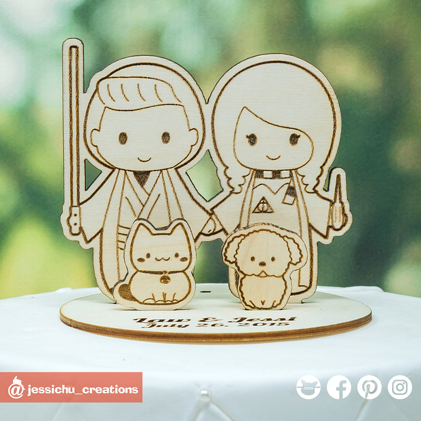 Jedi Groom & Harry Potter Bride Inspired Wooden Cutout Wedding Cake Topper | Wooden Cutouts | Cake Topper Gallery | Jessichu Creations