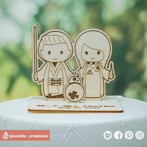 Jedi Groom & Harry Potter Bride with BB8 Inspired Wooden Cutout Wedding Cake Topper
