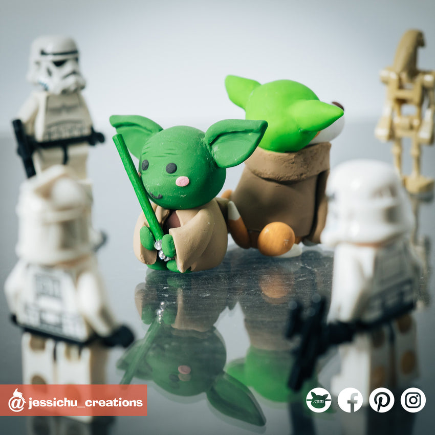 Baby Yoda Dog | Star Wars | Custom Handmade Birthday Cake Topper Figurines | Jessichu Creations