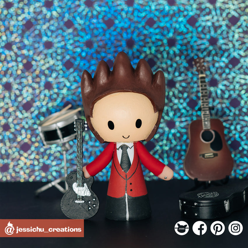 Rocker with Electric Guitar | Custom Handmade Wedding Cake Topper Figurines | Jessichu Creations