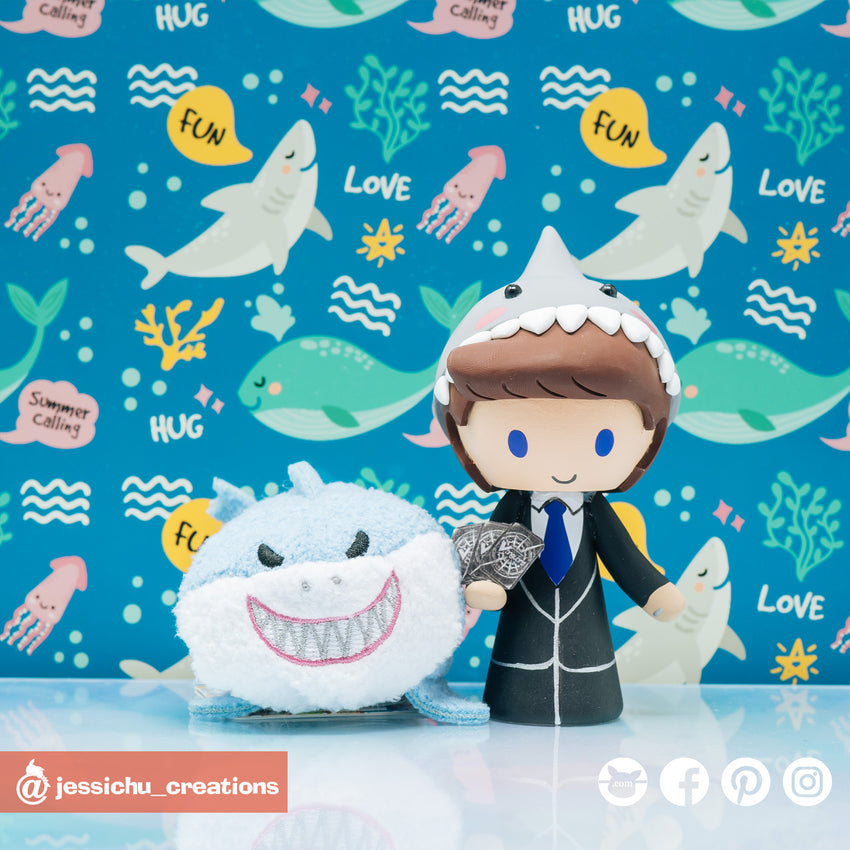 Shark Groom & Penguin Bride with Tardis Custom Made Figurine Wedding Cake Topper | Wedding Cake Toppers | Cake Topper Gallery | Jessichu Creations