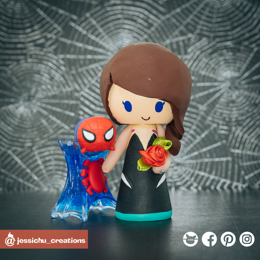 Spider Ghost Gwen Stacy | Marvel x Spiderman | Custom Handmade Wedding Cake Topper Figurines | Jessichu Creations