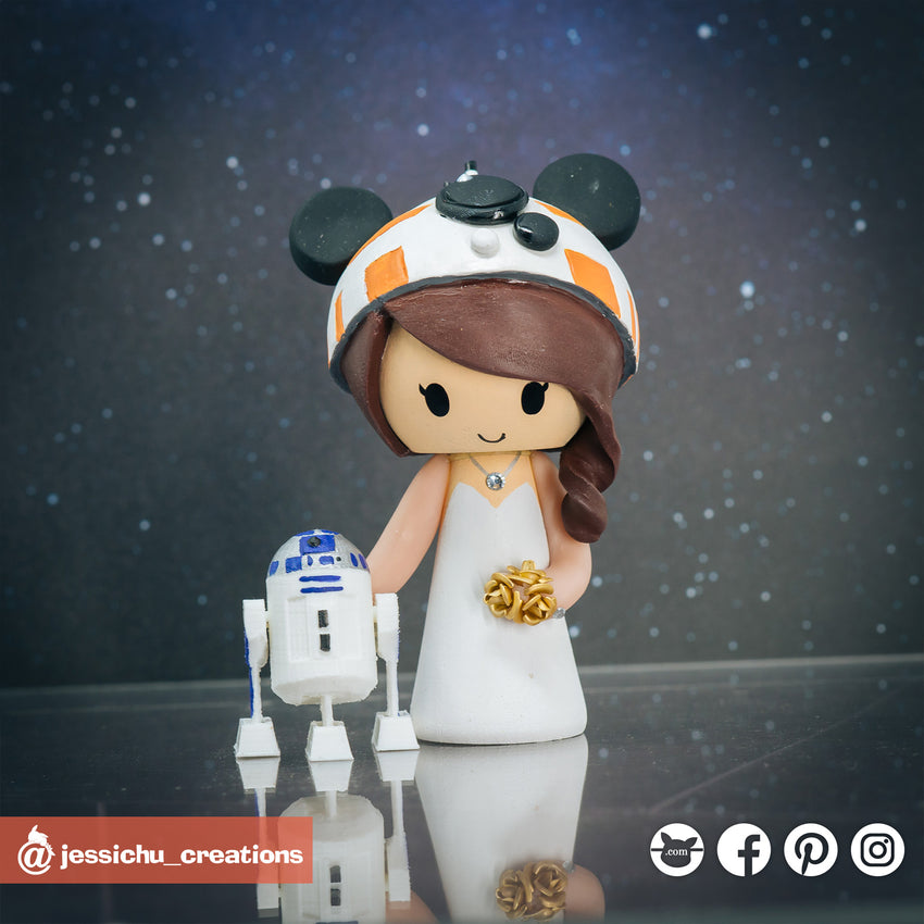 Mickey BB8 with R2D2 | Disney x Star Wars | Custom Handmade Wedding Cake Topper Figurines | Jessichu Creations