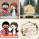 Spiderman & Harry Potter Couple Wooden Cutout Christmas Ornament