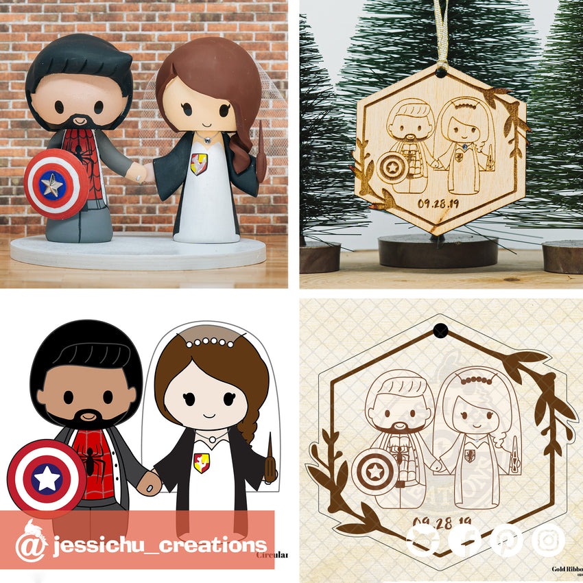 Spiderman & Harry Potter Couple Wooden Cutout Christmas Ornament | Wooden Cutouts | Wooden Gallery | Jessichu Creations