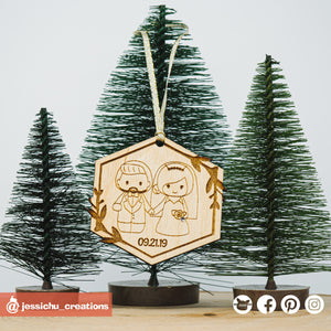 Cute Couple Wooden Cutout Christmas Ornament