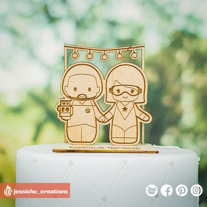 Star Trek & Booster Gold  | Wooden Cutouts | Custom Wedding Cake Topper | Jessichu Creations