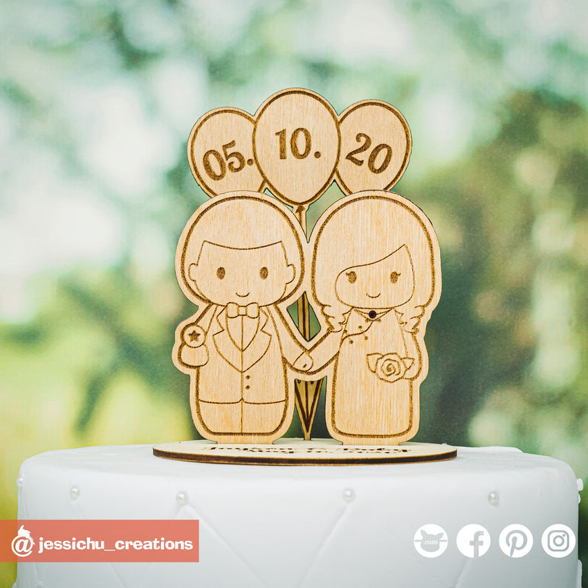 Cute Bride & Groom | Wooden Cutouts | Custom Wedding Cake Topper | Jessichu Creations