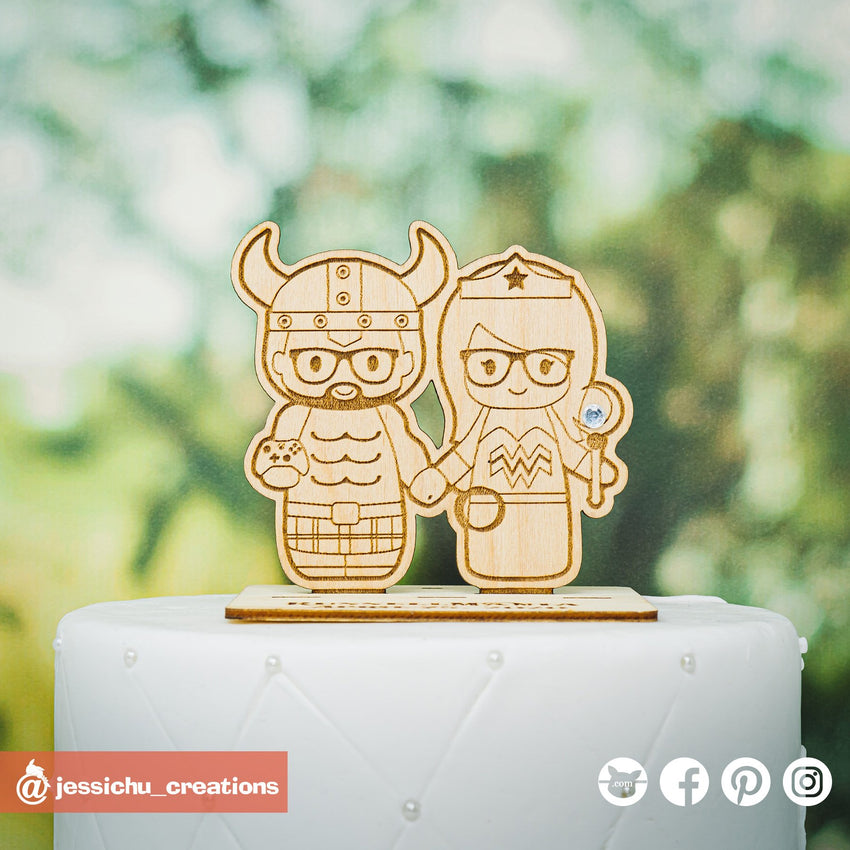Hulk Viking Groom & Wonder Woman with Geeky Accessories | Marvel x DC x Pokemon  | Wooden Cutouts | Custom Wedding Cake Topper | Jessichu Creations