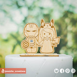 Ironman Groom & Pikachu Bride with Geeky Accessories  | Wooden Cutouts | Custom Wedding Cake Topper | Jessichu Creations