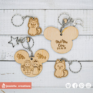 Cute Bride & Groom with Pet Dogs Disney Keychain - Wooden Cutout
