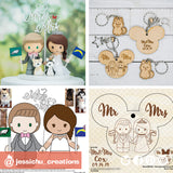Custom Drawn Wooden Couple's Keychain - Wedding Cake Topper Sketch Replica | Wooden Cutouts | Wooden | Jessichu Creations