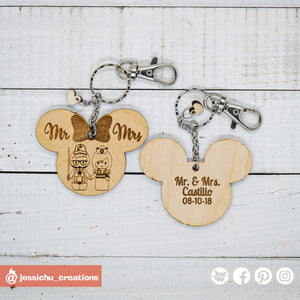 Geeky Bride & Groom on Mickey & Minnie Ears Disney Keychain - Wooden Cutout