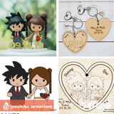 Goku & Princess Serenity on Heart Wooden Cutout Keychain - Dragon Ball Z x Sailor Moon | Wooden Cutouts | Wooden Gallery | Jessichu Creations