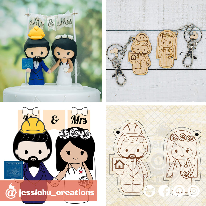 Construction Worker & Nurse Wooden Cutout Keychain | Wooden Cutouts | Wooden Gallery | Jessichu Creations