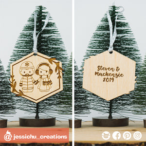 Custom Drawn Wooden Couple's Ornament - Wedding Cake Topper Replica | Wooden Cutouts | Wooden | Jessichu Creations
