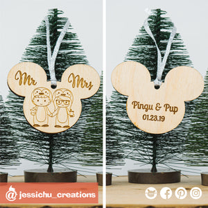 Penguin Couple Wooden Cutout Christmas Ornament | Wooden Cutouts | Wooden Gallery | Jessichu Creations