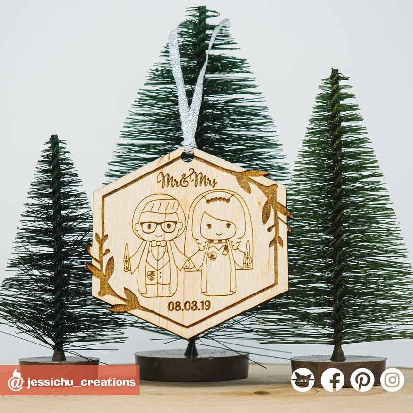 Harry Potter Couple Wooden Cutout Christmas Ornament