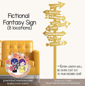 Fictional Fantasy World Sign Post Vinyl Wall Decal Sticker Decals