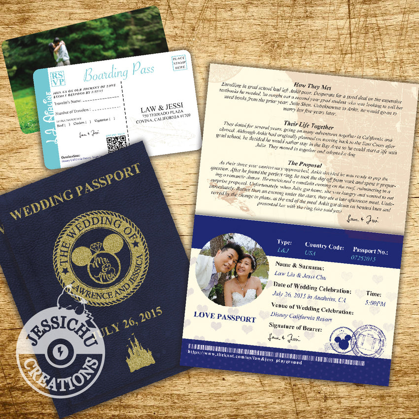 Disney Themed Passport Ticket Wedding Invitation Programs