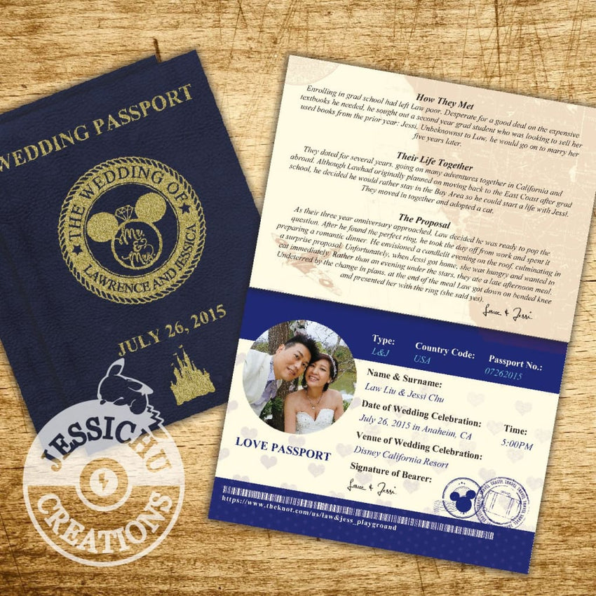 Disney Themed Passport & Ticket Wedding Invitation, Programs, Save the Date | Wedding Invitation, Programs, & Stationery | Invitations | Jessichu Creations
