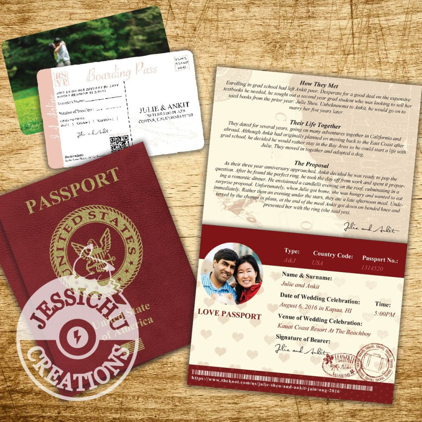 Passport & Ticket Wedding Invitation Programs Save The Date Stationary Invitations