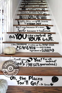 Dr. Seuss Quotes Stairs Vinyl Decal - Home Decor | Decals | Decals | Jessichu Creations