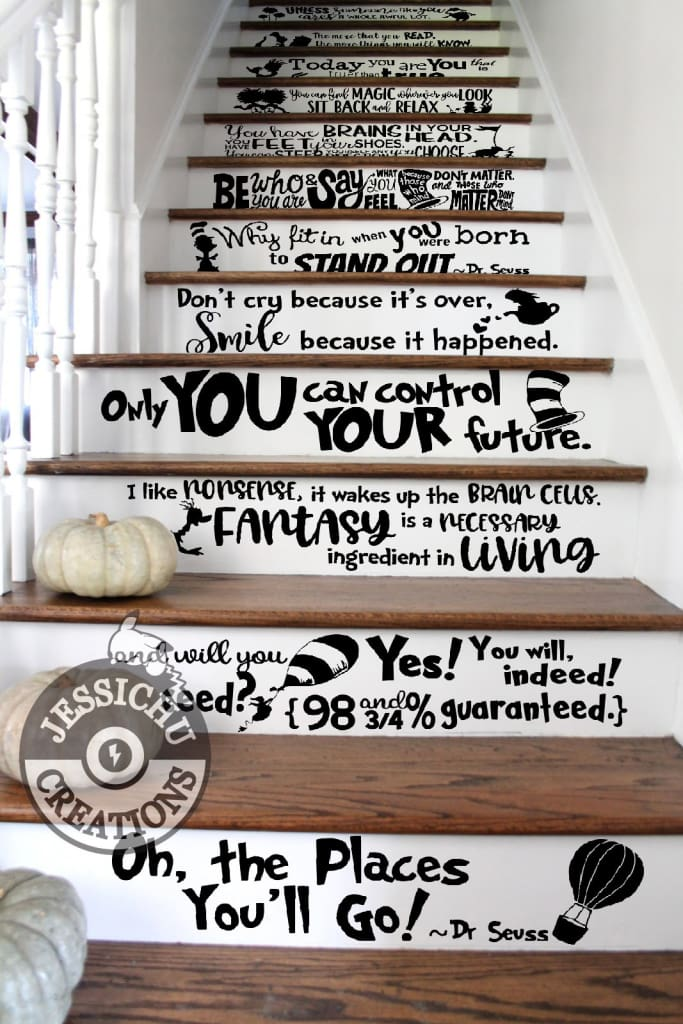 You have brains in your head - Dr. Seuss Inspired Geeky Quote Wall Vinyl Decal Decals