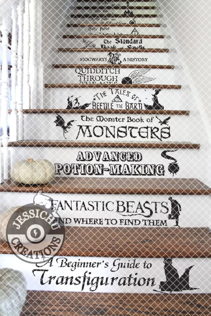 Jessichu Creations | Harry Potter Book List Vinyl Decals Stairs