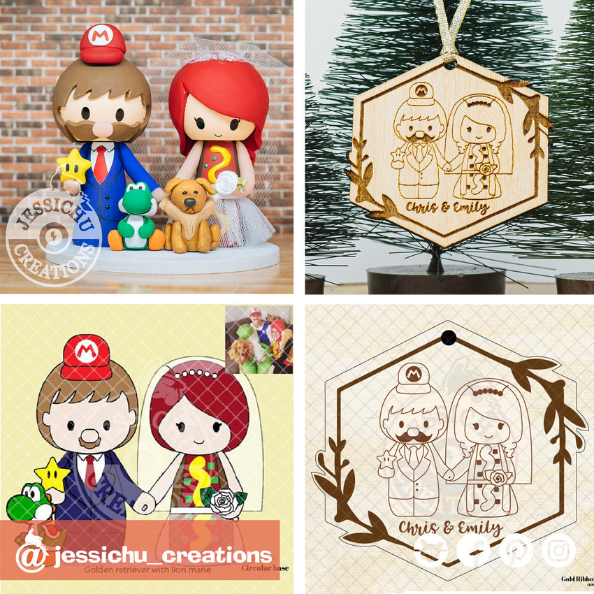 Mario & Hot Dog Costume Couple Wooden Cutout Christmas Ornament | Wooden Cutouts | Wooden Gallery | Jessichu Creations