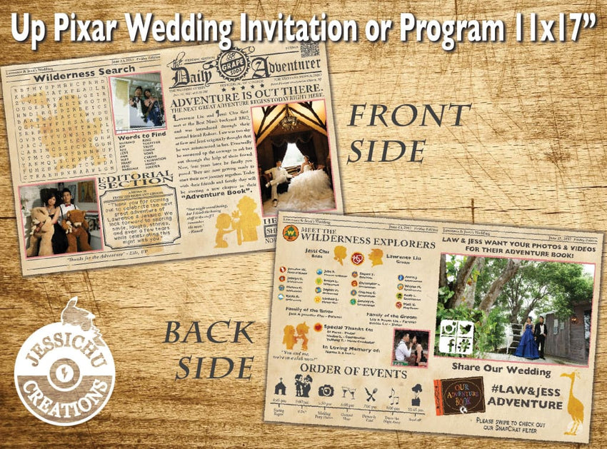 11X17 Themed Vintage Newspaper Wedding Invitation Programs Save The Date & Stationary Invitations