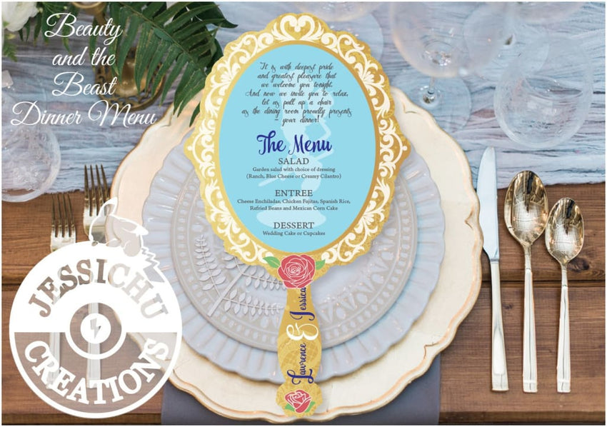 Beauty And The Beast Vintage Mirror Style Wedding Menu Invitation Programs Save Date & Stationary